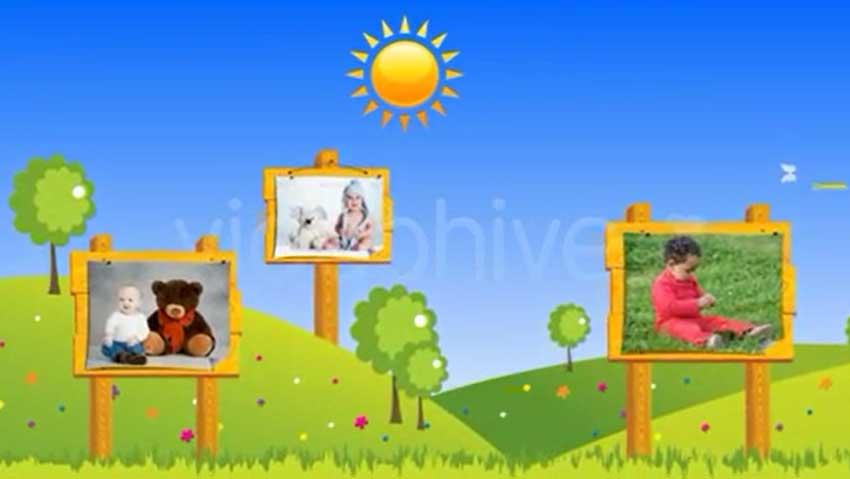 欢乐可爱的卡通公告板宝贝相片展示AE工程