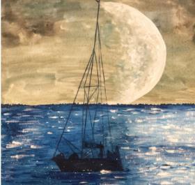 波光粼粼的月光小船水粉画