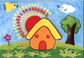 儿童水粉画:可爱的小房子