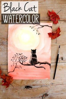 大师级水粉画:小猫望月