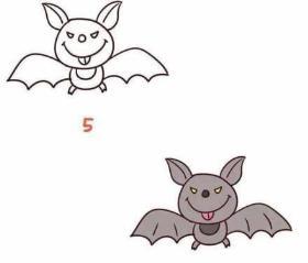 万圣节可爱小蝙蝠简笔画