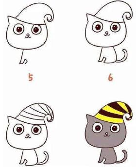 万圣节黑猫简笔画