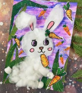 适合儿童的可爱小白兔水粉画教程