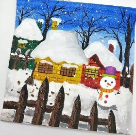 雪中的房子·教你画建筑风景水粉画