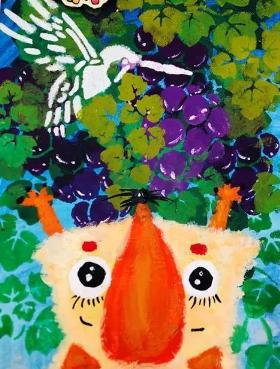 葡萄架下的狐狸·适合7-9岁儿童的水粉画
