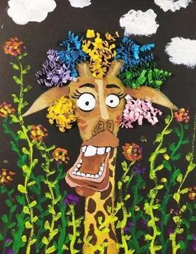 搞怪的长颈鹿·儿童创意水粉画