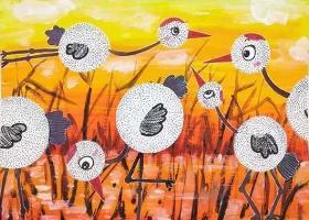 芦苇中美丽的丹顶鹤·儿童创意水粉画教程