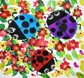 花丛中的七星瓢虫·儿童水粉画