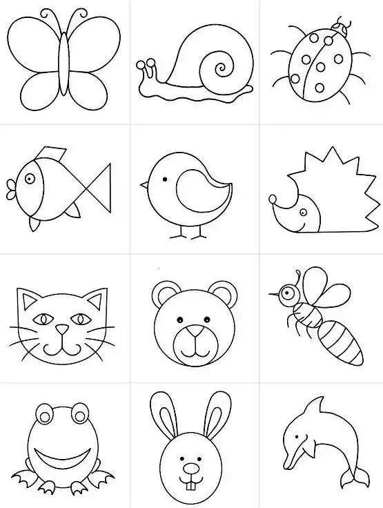 蘑菇小房子简笔画_分享一组动物简笔画合集_简笔画_笨笨画屋