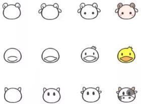 一群可爱的动物简笔画教程