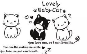 可爱的小猫咪手帐素材简笔画