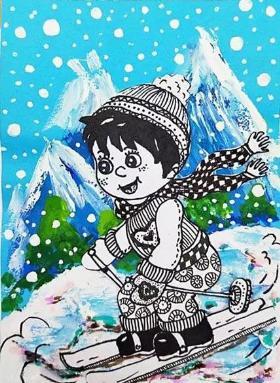 儿童水粉画·冬天到了,一起去划雪吧