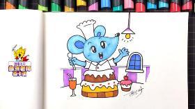 十二生肖系列简笔画教程——子鼠(1)