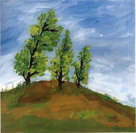 蓝天下的绿树·儿童水粉画教程