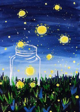 夜空下玻璃瓶中的萤火虫——创意儿童水粉画教程