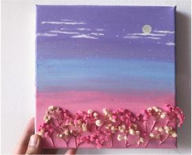 天空下的满天星——唯美水粉画