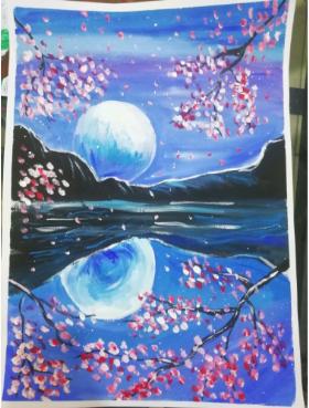 儿童创意水粉画:《山水之夜》