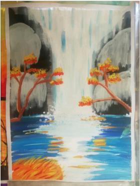 儿童水粉画:《瀑布》