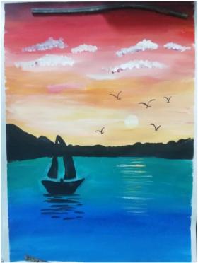 分享一幅儿童风景水粉画:《海上的帆船》,超美的