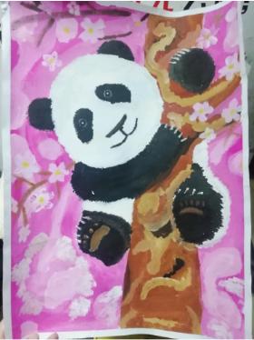 儿童创意水粉画:《树上的熊猫》