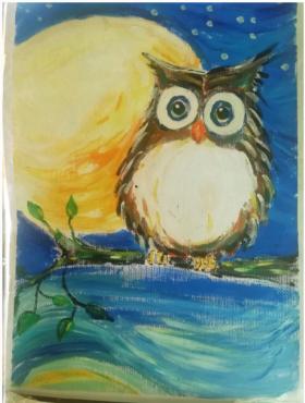 儿童水粉画:《夜空下猫头鹰》,超萌哦