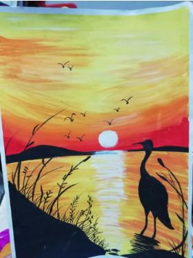 儿童水粉风景画:《夕阳下的仙鹤》