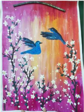 分享一幅儿童水粉画:《蜂鸟》,赶快收藏起来吧