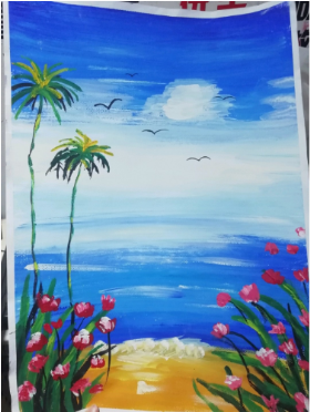 分享一幅儿童水粉画:《夏威夷风景》