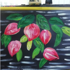 分享一幅儿童水粉画:《诱人的桃子》