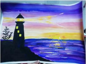 分享一幅儿童水粉画:《守望的灯塔》