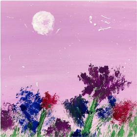 分享一幅零基础儿童水粉画:《温柔月色》