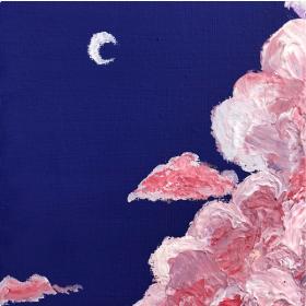 分享一幅超美的零基础儿童水粉画:《月空下的草莓云》