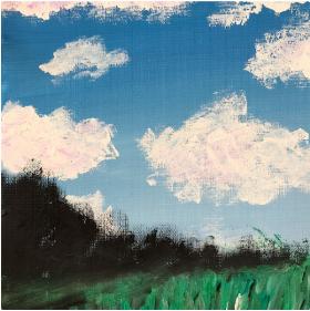 分享一幅零基础水粉画:《蓝天白云》,心情美矣