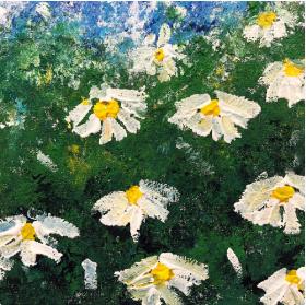 分享一幅零基础水粉画:《夜空下的小雏菊》