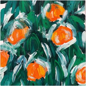 分享一幅零基础水粉画:《吉祥橘子》,希望来年吉祥如意