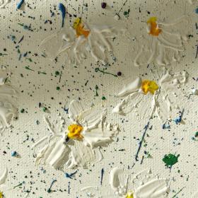 分享一幅不一样的零基础水粉画:《淡雅小雏菊》