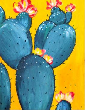 零基础水粉画:《盛开花朵的仙人掌》,可做装饰画哦
