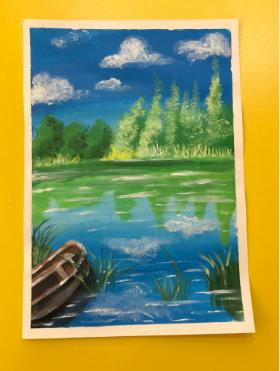 分享一幅儿童水粉画:《宁静的湖畔》