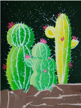 创意儿童水粉画:《星空下的仙人掌》