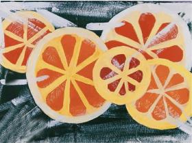 儿童创意水粉画:《一盒新鲜的水果》