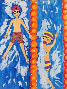 儿童创意水粉画:《游泳比赛》,战况激烈哦