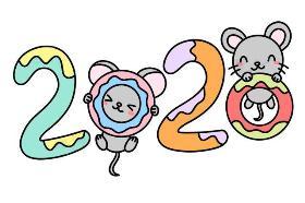 2020年最新生肖鼠数字创意简笔画:美满2020年