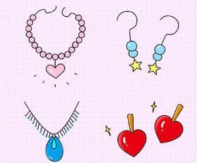 分享一组粉红泡泡系列的叮叮当当的饰品简笔画