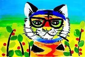 分享一只色彩斑斓的呆萌的老虎的水粉画教程