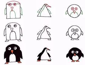 """用几何图形画有""""海洋之舟""""美称的企鹅的简笔画"""