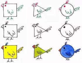 用几何图形教你怎么画骄傲鸡的简笔画