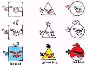"""用简单的几何图形来画一画""""愤怒的小鸟""""的简笔画"""