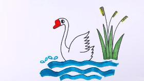 教宝宝们通过画鹅的简笔画来学习《咏鹅》这首诗