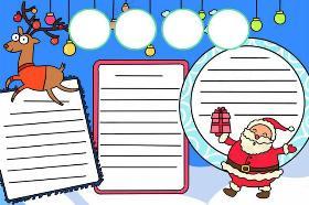 2019年圣诞节手抄报 圣诞老人坐着驯鹿来送圣诞礼物了