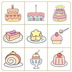 美食简笔画 各种美味的蛋糕随你吃哦